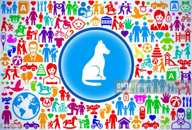 Dog Sitting  Family and Parenthood Vector Icon Pattern