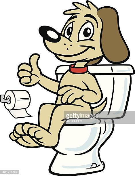 dog sitting on toilet - defecating stock illustrations, clip art, cartoons, & icons