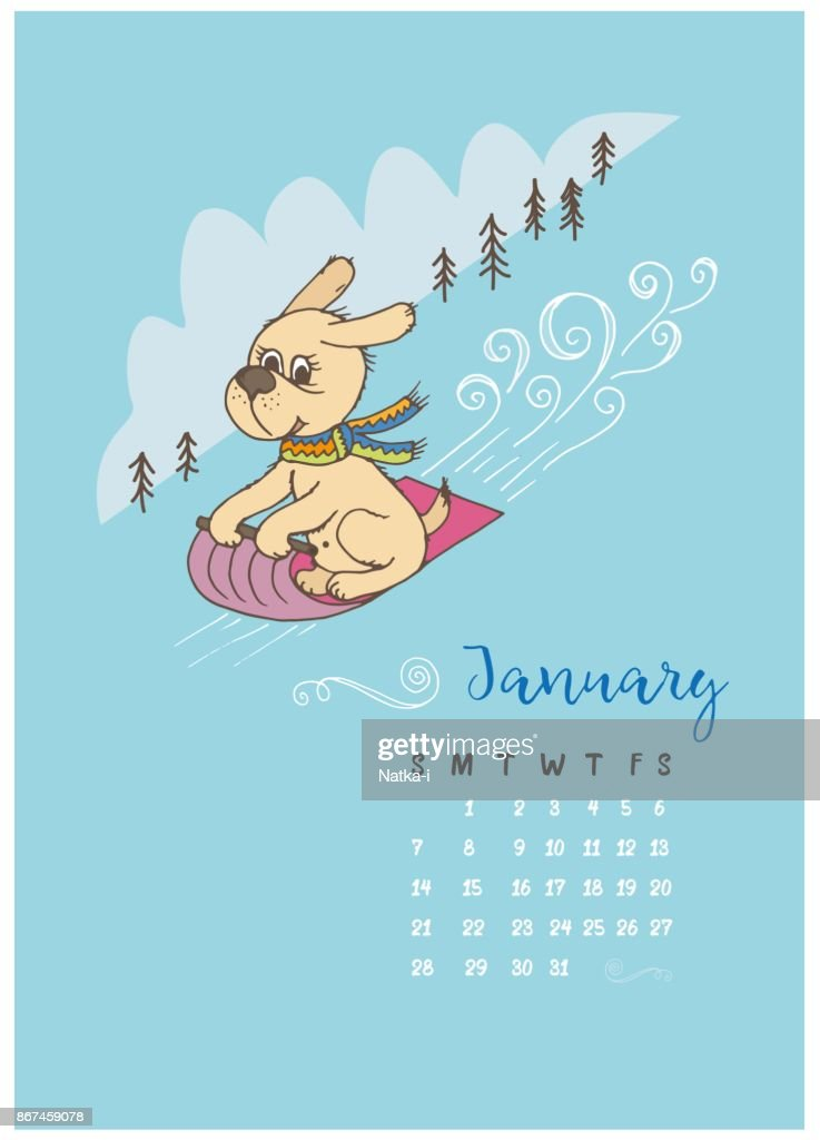Dog sled rolls down from the mountain, a calendar for the month of January 2018