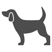 Dog solid icon, pets concept, puppy sign on white background, dog standing silhouette icon in glyph style for mobile concept and web design. Vector graphics.