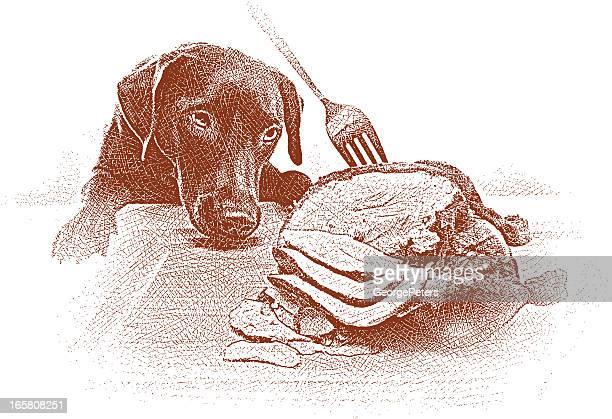 dog stealing food - dog eating stock illustrations, clip art, cartoons, & icons