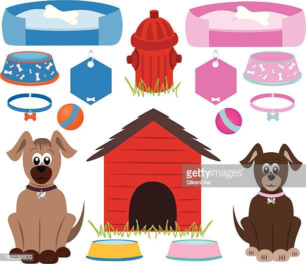 dog supplies - dog bowl stock illustrations, clip art, cartoons, & icons