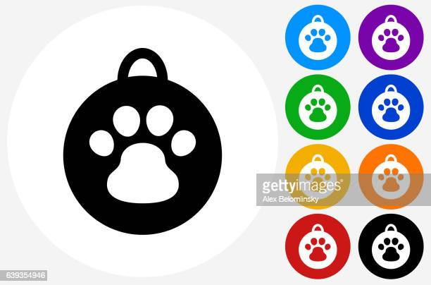 Dog Tag Icon on Flat Color Circle Buttons