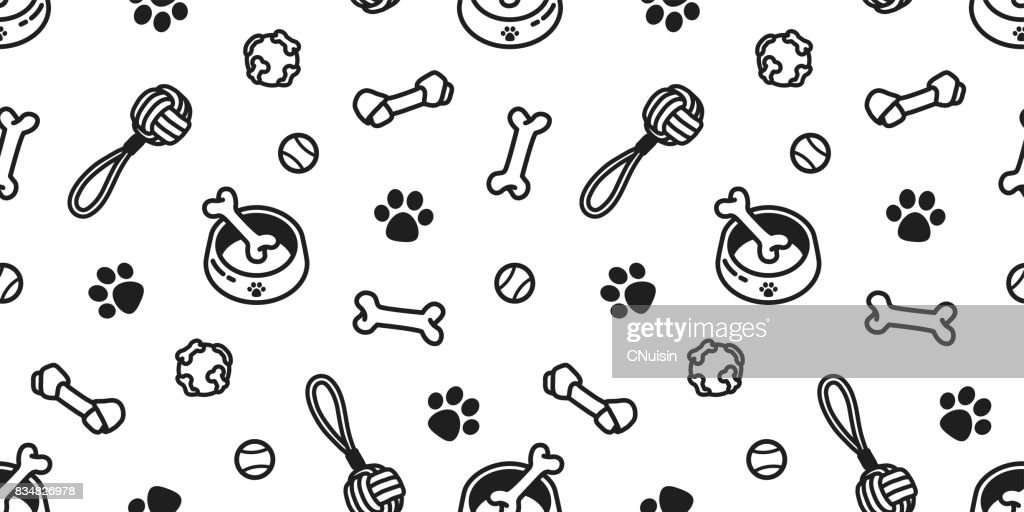 dog toy puppy. dog bone. dog paw. tennis ball. bowl doodle vector seamless pattern wallpaper background