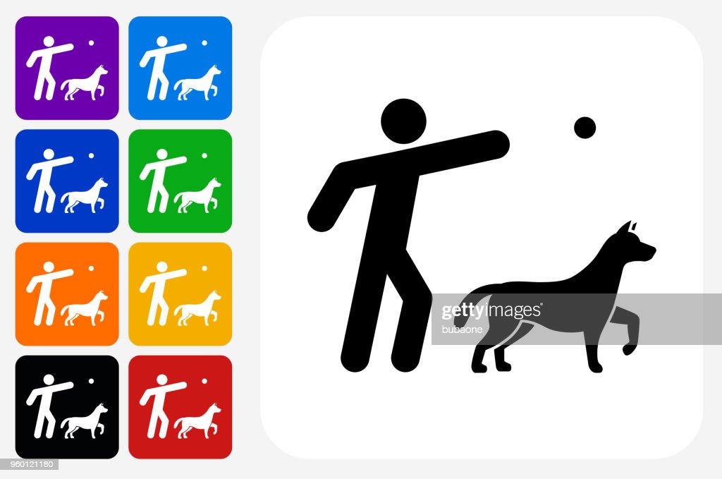 Dog Training Symbol Square Buttonset : Stock-Illustration