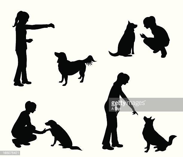 dog training vector silhouette - obedience training stock illustrations