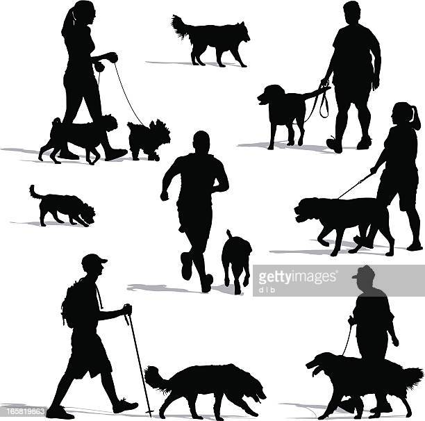 dog walkers - dog stock illustrations