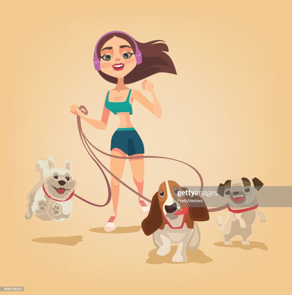 Dog walking service. Woman character run with pets