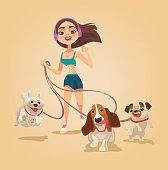 Dog walking service. Woman character run with pets