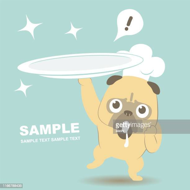 dog with chef hat walking on his own two feet and carrying an empty plate - anthropomorphic foods stock illustrations, clip art, cartoons, & icons