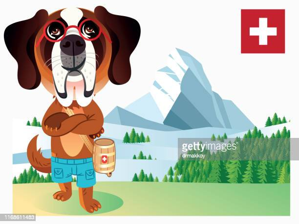 dog with glasses in switzerland - sion switzerland stock illustrations