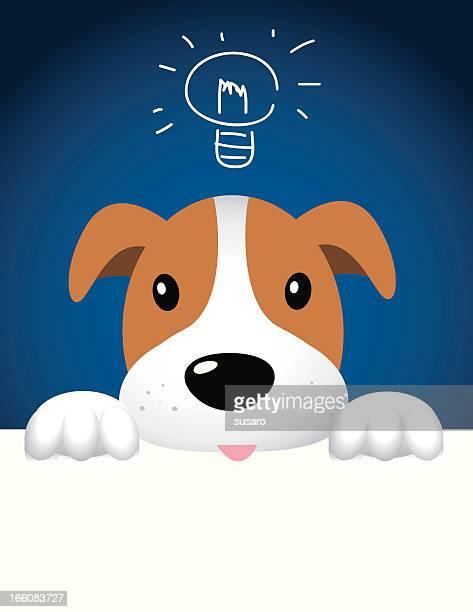 ilustraciones, imágenes clip art, dibujos animados e iconos de stock de perro con la idea - gracias por su atencion