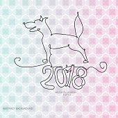 2018 dog with one line for the new year abstract background ...