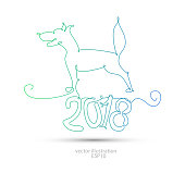 2018 dog with one line for the new year