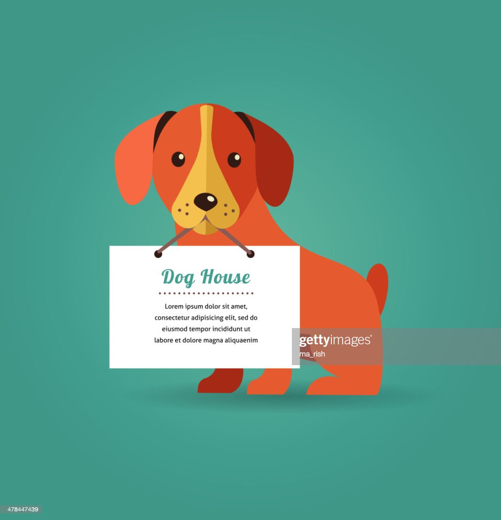 Dog with text sign