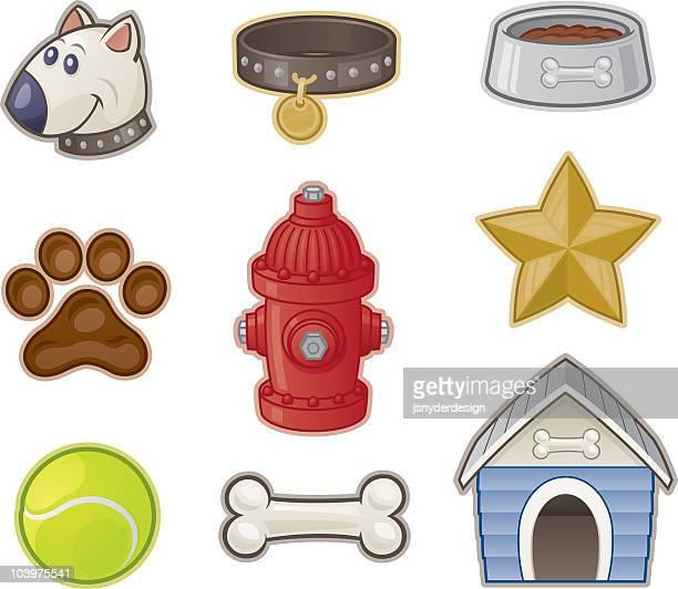 doggie stuff - dog bowl stock illustrations, clip art, cartoons, & icons