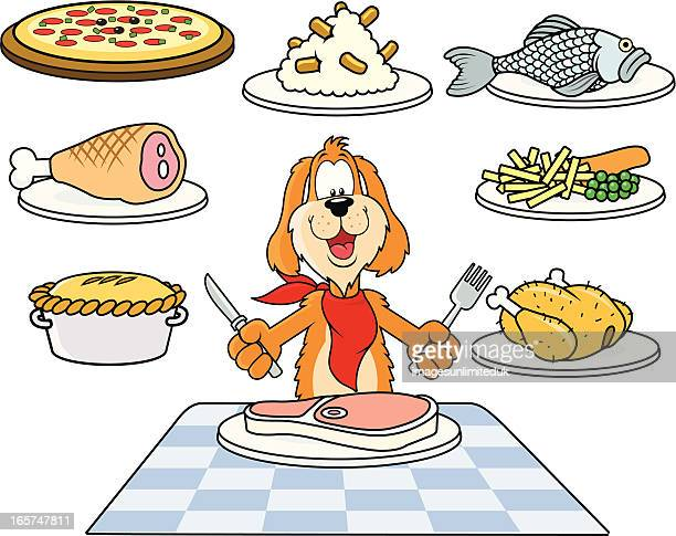 doggy dinner - meat pie stock illustrations, clip art, cartoons, & icons