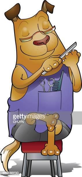 illustrations, cliparts, dessins animés et icônes de ongles doggy - coiffeur humour