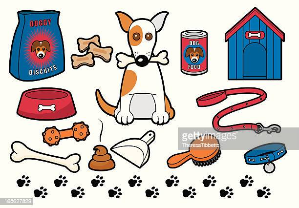 doggy stuff - dog leash stock illustrations, clip art, cartoons, & icons