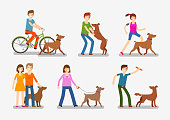 Dogs and people icons set. Pets, animals vector illustration