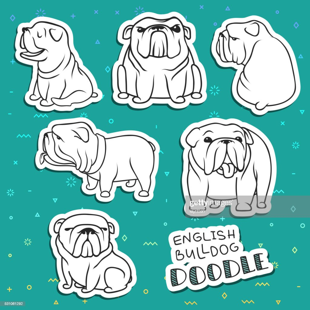 Dogs characters. Doodle dog. Funny animals. Dog isolated