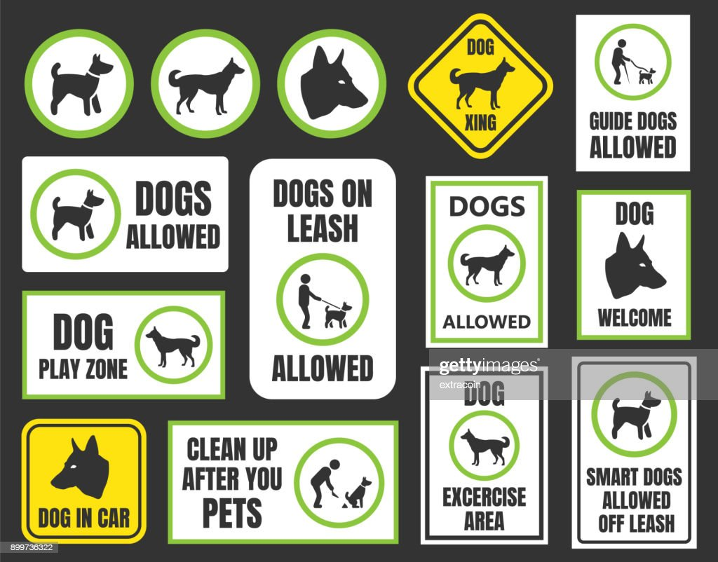 dogs friendly sign, pet allowed set, dog in car and xing symbol