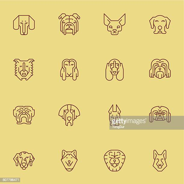 Dogs Head Icons | set 1 - Light Color