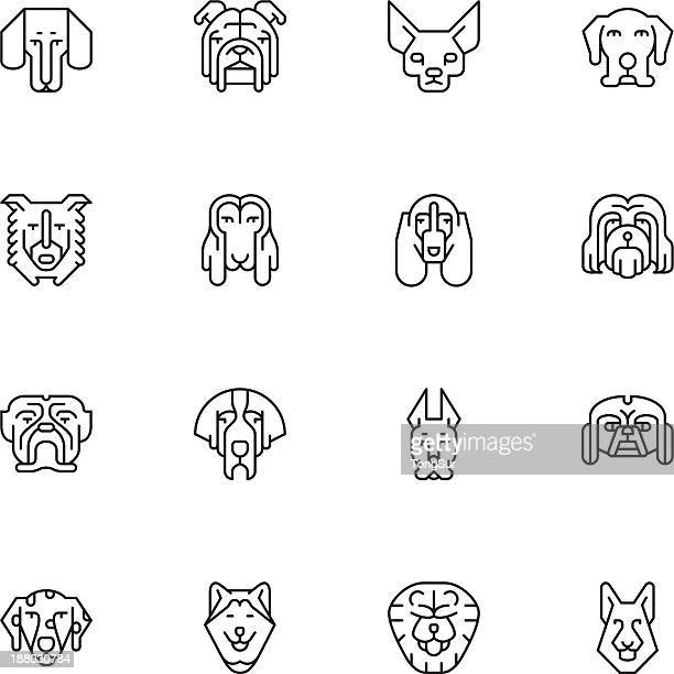 Dogs Head Icons | set 1 - Light