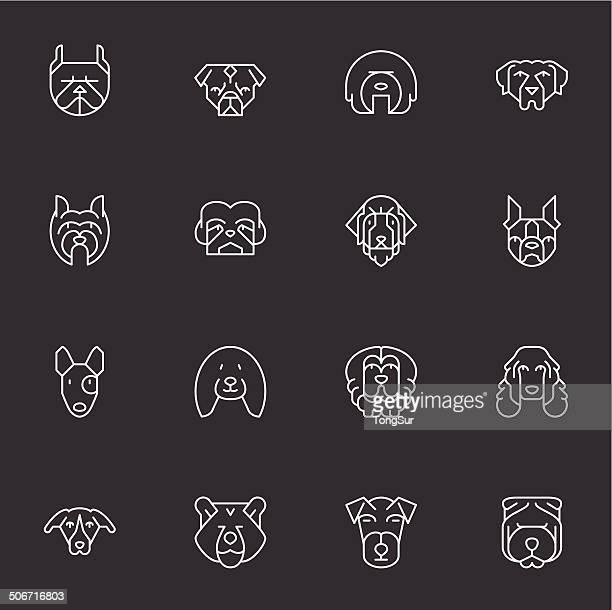 ilustraciones, imágenes clip art, dibujos animados e iconos de stock de perros de iconos-set 2-luz blanca - pit bull terrier