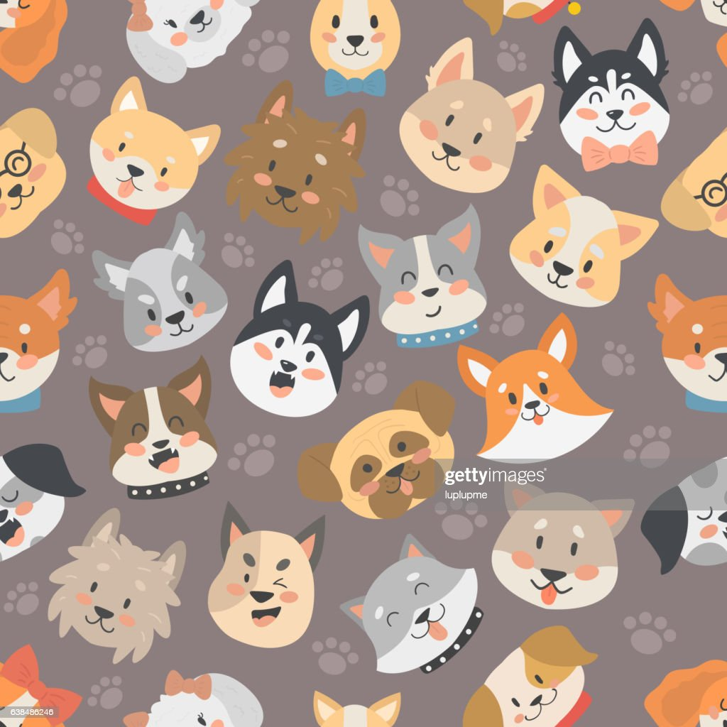 Dogs heads seamless pattern background vector set.