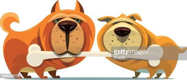dogs holding large bone - dog eating stock illustrations, clip art, cartoons, & icons