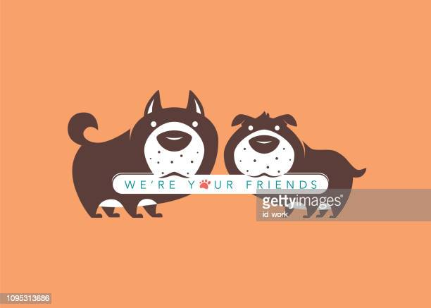 dogs holding placard - dog eating stock illustrations, clip art, cartoons, & icons