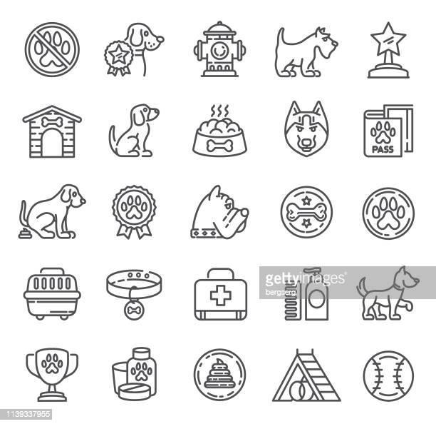 dogs icons. single line collection - dog eating stock illustrations, clip art, cartoons, & icons