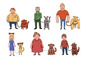 Dogs look like their owners. People walking their dogs. Cartoon vector characters illustration isolated on white background.