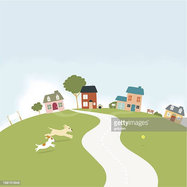 dogs running in a small village - canine stock illustrations