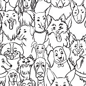 Dogs seamless vector pattern. Illustration with bulldog, bobtail, dachshund, bullterrier, Doberman, Chihuahua