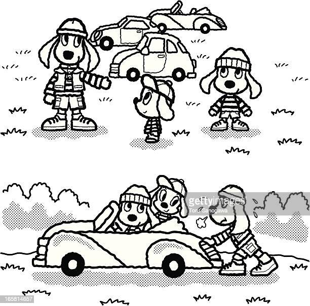 dogs which go to ride in a car - domestic car stock illustrations, clip art, cartoons, & icons