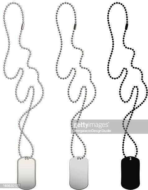 dogtag trio - necklace stock illustrations, clip art, cartoons, & icons
