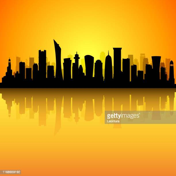 doha (all buildings are complete and moveable) - qatar stock illustrations, clip art, cartoons, & icons