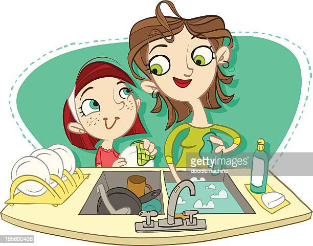 doin' dishes - washing dishes stock illustrations, clip art, cartoons, & icons