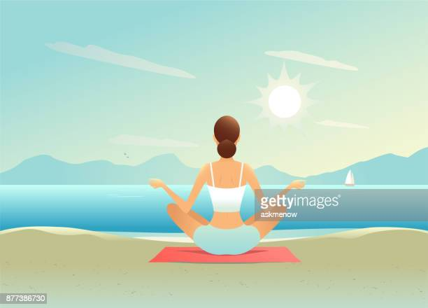 doing yoga on the beach - natural arch stock illustrations, clip art, cartoons, & icons