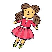 Doll, bright vector children illustration isolated on white
