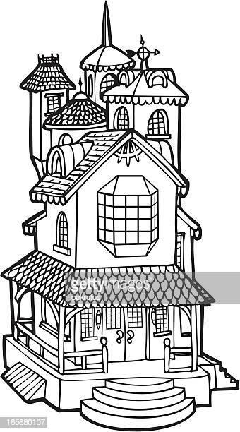 ilustrações, clipart, desenhos animados e ícones de boneca house mansion-arte em linha - spire