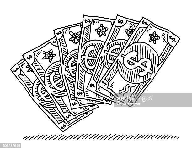 us-dollar-banknoten comic zeichnung - dollarsymbol stock-grafiken, -clipart, -cartoons und -symbole