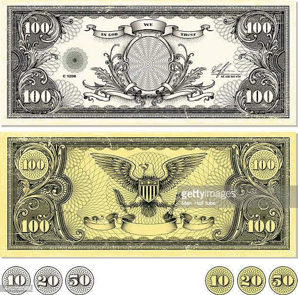 dollar bill design - us paper currency stock illustrations, clip art, cartoons, & icons