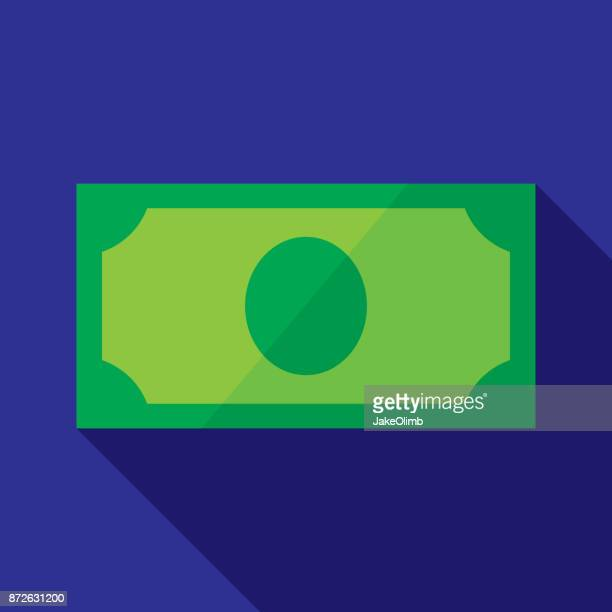 dollar bill icon flat - american one dollar bill stock illustrations, clip art, cartoons, & icons