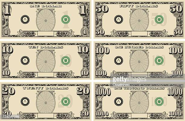 dollar bill money kit - american one dollar bill stock illustrations, clip art, cartoons, & icons