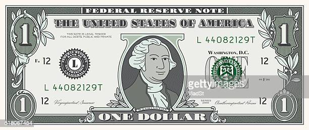 dollar bill one usd money currency - us paper currency stock illustrations, clip art, cartoons, & icons
