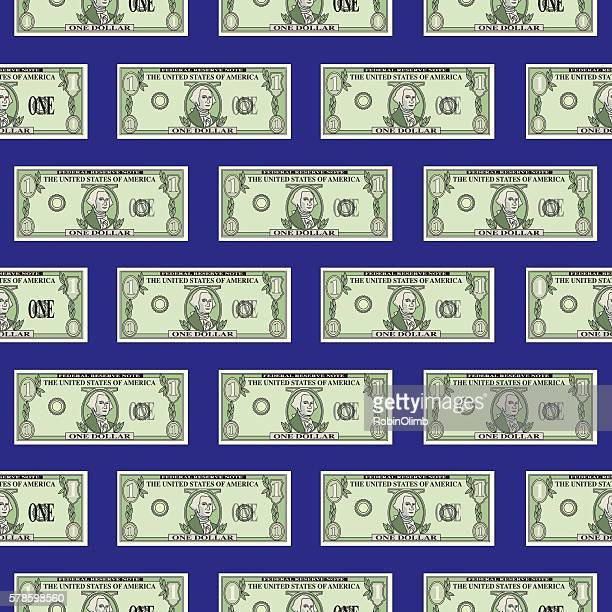 dollar bill pattern - american one dollar bill stock illustrations, clip art, cartoons, & icons