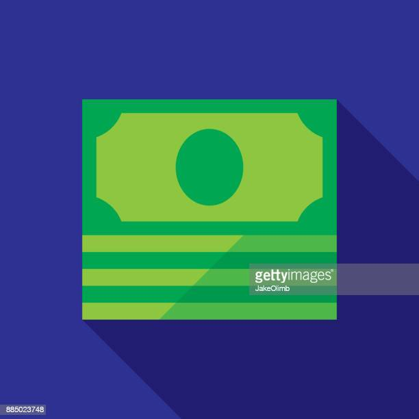 dollar bill stack icon flat - american one dollar bill stock illustrations, clip art, cartoons, & icons
